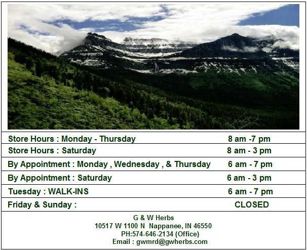 G & W Herbs Hours